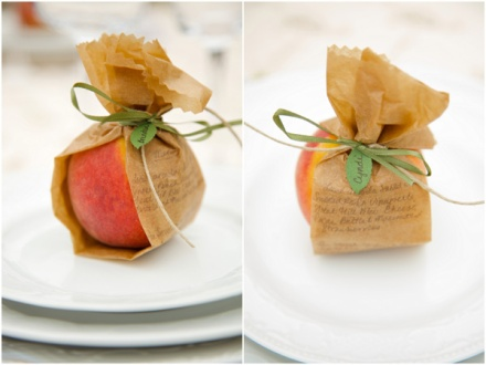 Fresh Fruit Wedding Favors - Fruits Wrapped in Paper and Tied with Ribbon